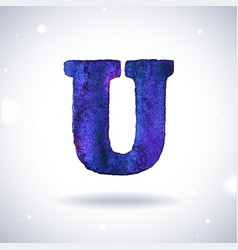 Watercolor letter u vector