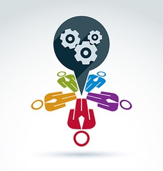 Colorful of gears business strategy concept vector