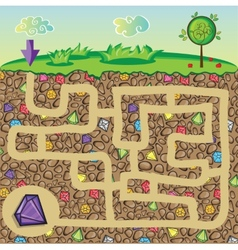 Maze for children - nature stones and precious vector