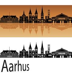 Aarhus skyline in orange vector image