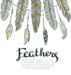 Card with colorful feathers beautiful hand-drawn vector