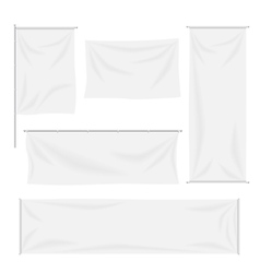 White flags and textile banners with folds vector