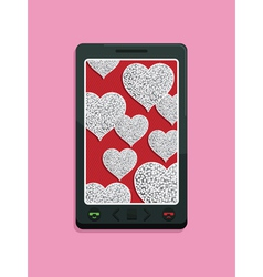 Smart phone glitter love vector