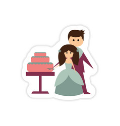 Paper sticker on white background bride groom cake vector