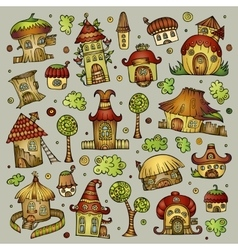 Set of cartoon houses vector