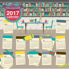 2017 calendar starts sunday education concept vector