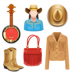 Cowboy female accessories vector
