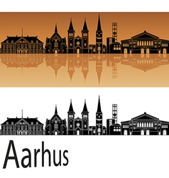 Aarhus skyline in orange vector image