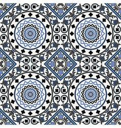 Arabesque seamless pattern in blue vector image