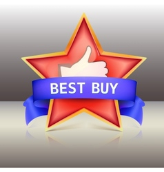 Best buy label with red star and ribbons vector