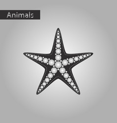 Black and white style icon of starfish vector