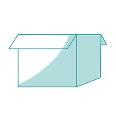 Blue silhouette image box of cardboard opened vector