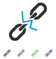 broken chain link flat icon vector image vector image