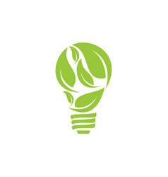 bulb leaf logo vector image