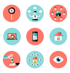 Business real estate circle flat icons set vector