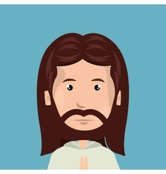 Cartoon face jesus christ design isolated vector