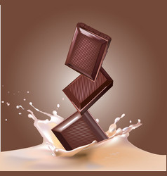 chocolate and milk vector image vector image