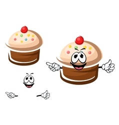 Chocolate cupcake with cream and sprinkles vector image vector image