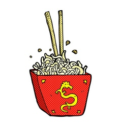 comic cartoon noodles in box vector image