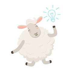 Cute white sheep character having a good idea vector