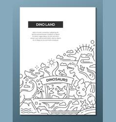 Dinoland - line design brochure poster template a4 vector