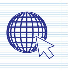 Earth globe with cursor navy line icon on vector