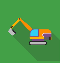 Excavator icon in flat style isolated on white vector