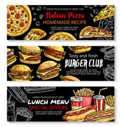 Fast food menu special offer chalkboard banner set vector