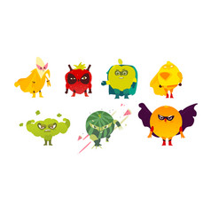 Fruit and berry hero superhero characters guards vector