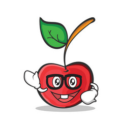 geek face cherry character cartoon style vector image vector image