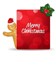 Gingerbread man with santa hat and blank gift tag vector