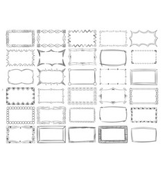 hand drawn line photo frame borders set vector image vector image
