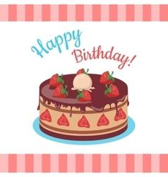 Happy birthday cake with strawberries isolated vector