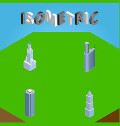 Isometric building set of building skyscraper vector