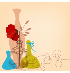 Lifestyle with flower vases and bottles vector image vector image