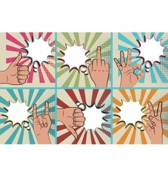 Like positive hand sign blue pop art background vector