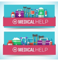 Medicine flat icons set concept vector image