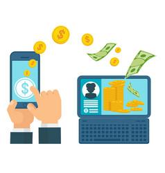 money transfer computer concept vector image vector image