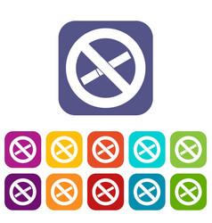 No smoking sign icons set vector