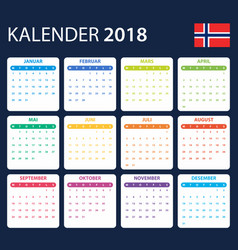 Norwegian calendar for 2018 scheduler agenda or vector