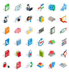 Online learning icons set isometric style vector
