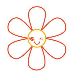 Orange flower kawaii cartoon botanical icon vector