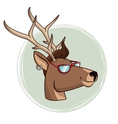 Portrait deer hipster style sunglasses and vector