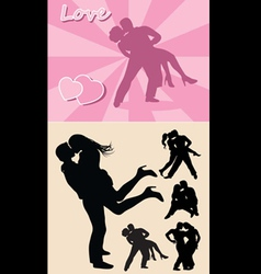 Romantic love couple silhouette 1 vector image