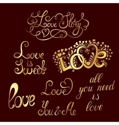 Set of hand-written words love lettering vector