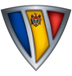 steel shield with flag moldavia vector image vector image