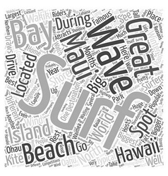 Surfing in hawaii word cloud concept vector