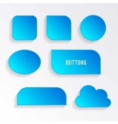 Various blue buttons with shadows vector