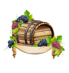 wine barrel with bunches of grapes vector image vector image