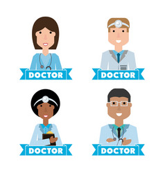 Women doctors and nurse with medical tools vector